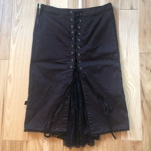 Tripp nyc Y2K Pinstripe Lace Up Lace Accent Skirt